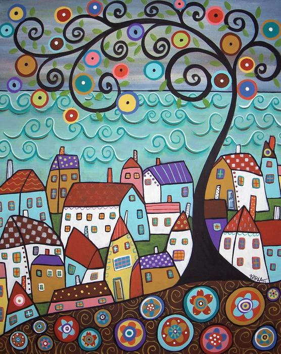 Village By The Sea Print by Karla Gerard