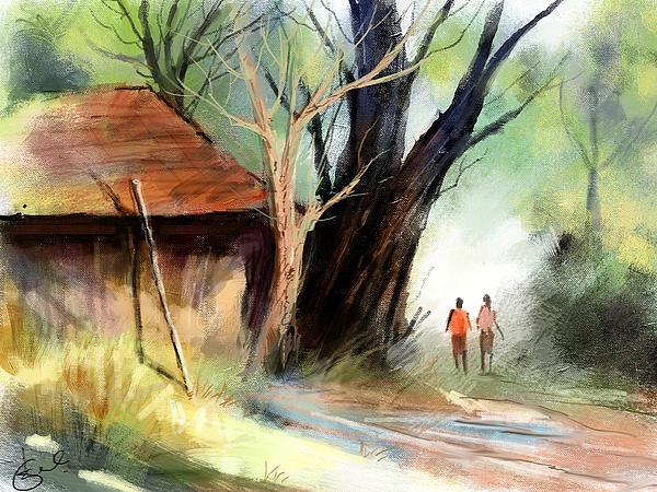 Village Print by Kiran Kumar
