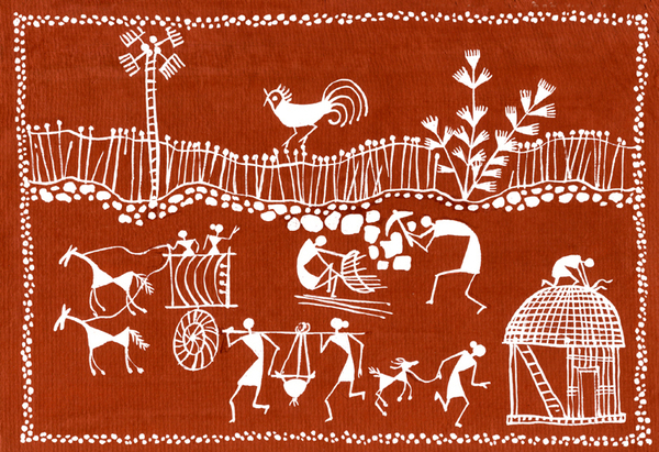 Village Scene In Warli Tribal Art Painting Village Scene In Warli Tribal