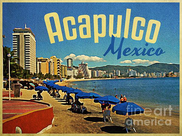 Vintage Acapulco Mexico Print by Flo Karp
