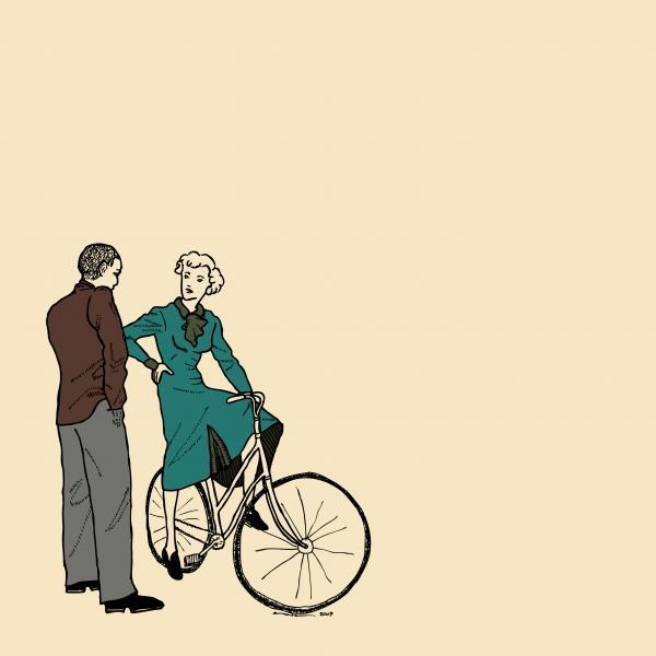 Vintage Bike Couple Print by Karl Addison