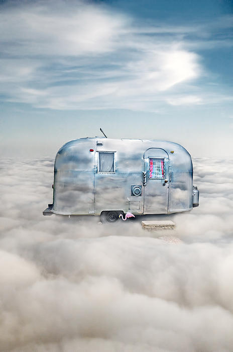 Vintage Camping Trailer In The Clouds Print by Jill Battaglia