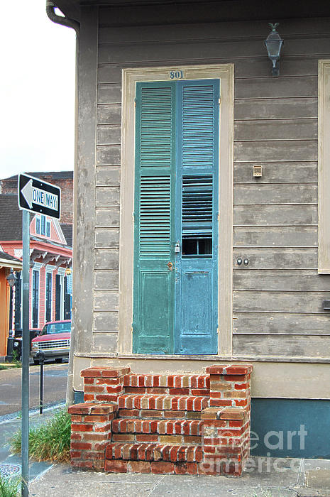 Vintage Dual Color Wooden Door And Brick Stoop French Quarter New Orleans Accented Edges Digital Art Print by Shawn O'Brien