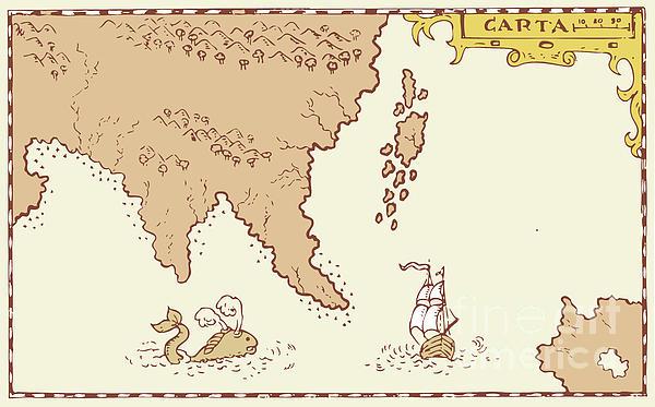 Vintage Map Treasure Island Tall Ship Whale Print by Aloysius Patrimonio