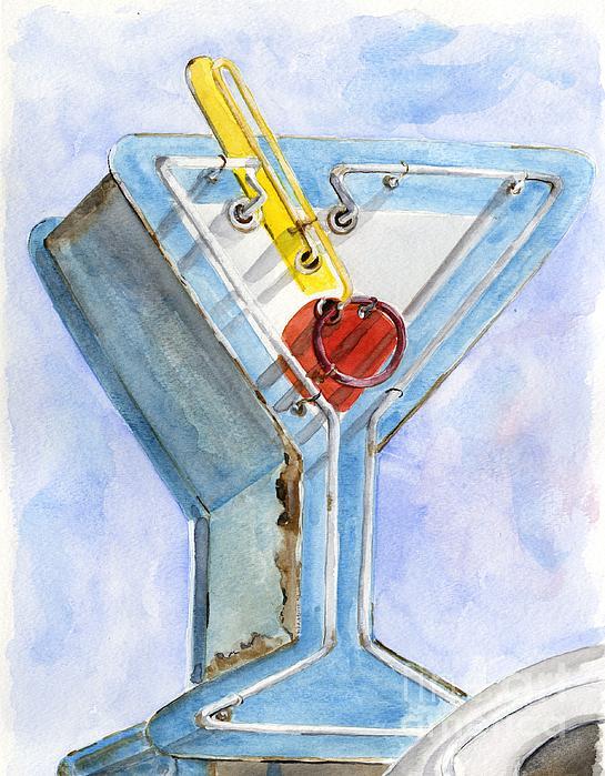 Vintage Neon- Martini Glass Print by Sheryl Heatherly Hawkins