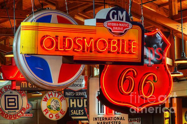 Vintage Neon Sign Oldsmobile Print by Bob Christopher