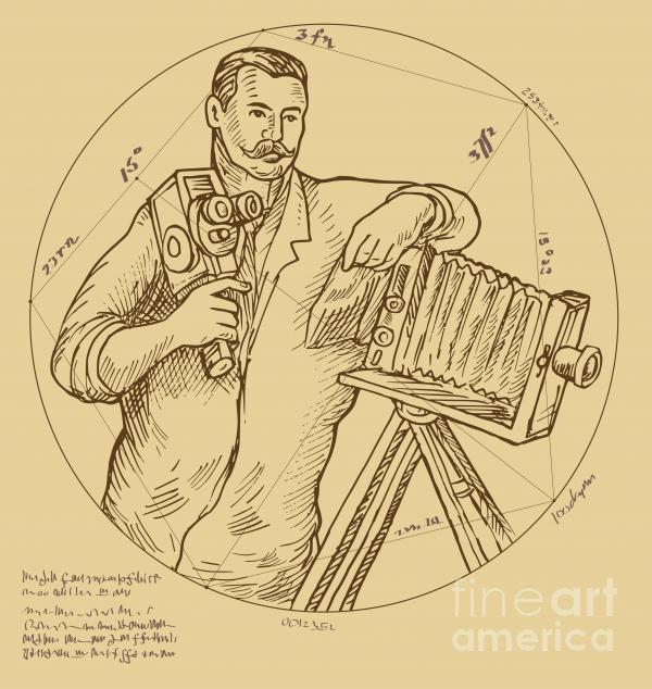 Vintage Photographer Video Camera Print by Aloysius Patrimonio