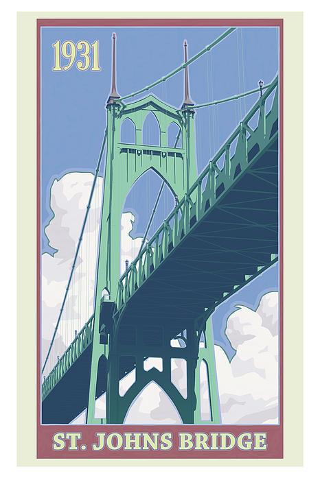 Vintage St. Johns Bridge Travel Poster Print by Mitch Frey