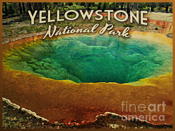 Vintage Yellowstone National Park Print by Flo Karp