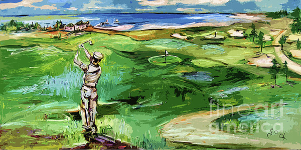 Vintge Golfer By The Sea Print by Ginette Callaway