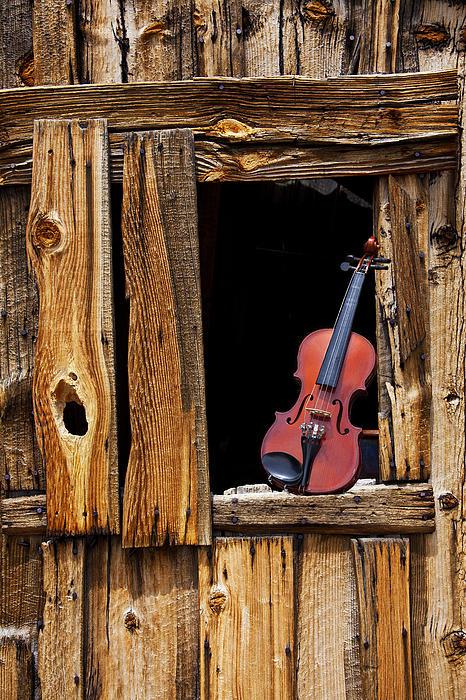 Violin In Window Print by Garry Gay