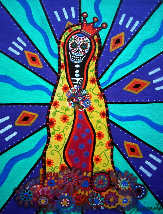 Virgin Guadalupe Day Of The Dead Print by Pristine Cartera Turkus