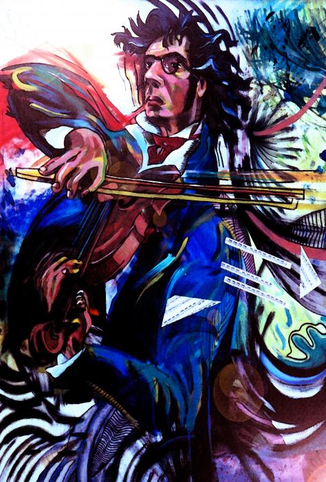 Virtuoso Violinist Print by Jose Roldan Rendon