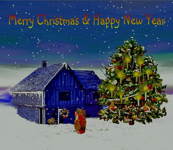 Visit From Santa Christmas Greeting Print by Julie  Grace