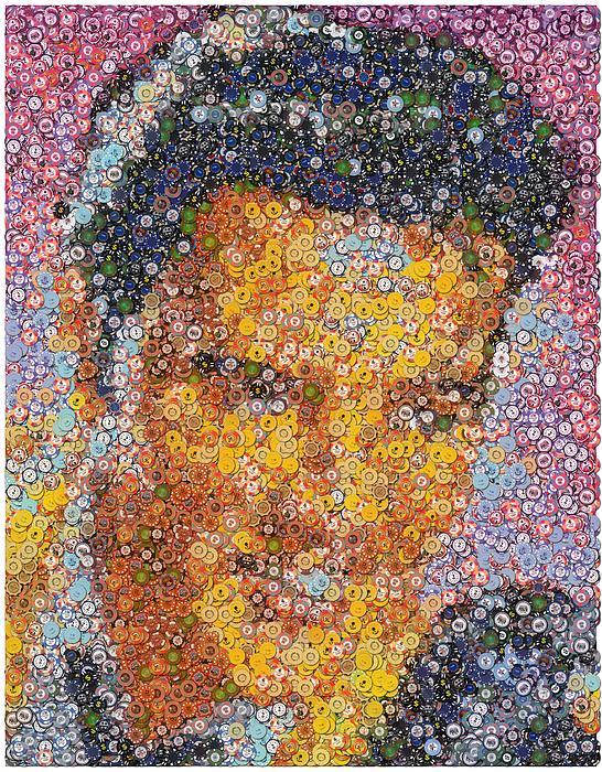 Viva Las Vegas Elvis Poker Chip Mosaic Print by Paul Van Scott