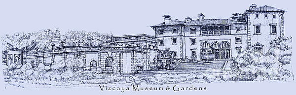Vizcaya Museum In Blue Print by Lee-Ann Adendorff