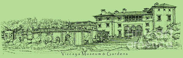 Vizcaya Museum In Olive Green Print by Lee-Ann Adendorff
