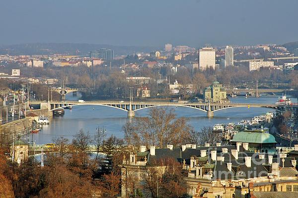 Vltava River In Prague - Tricky Laziness Print by Christine Till