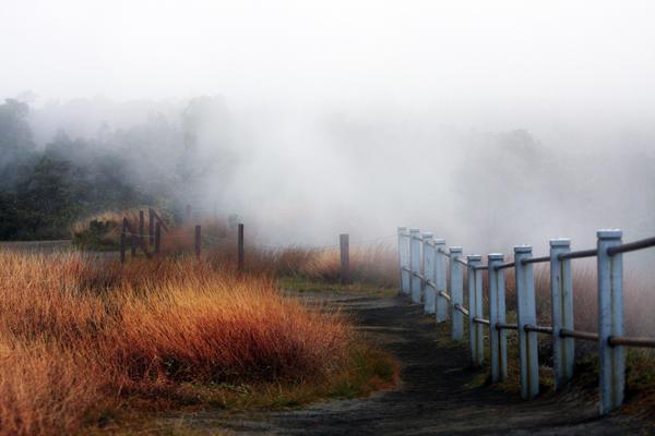 Volcano Fence Print by Ty Helbach