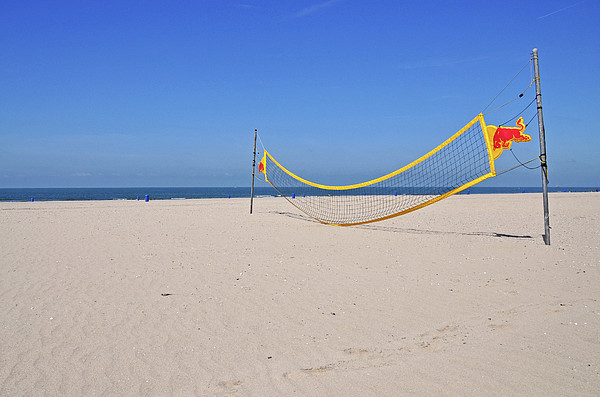 Volleyball Net On Beach Print by Leuntje