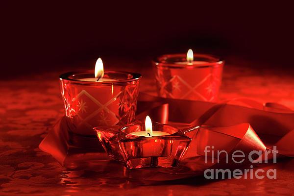 Votive Candles On Dark Red Background Print by Sandra Cunningham