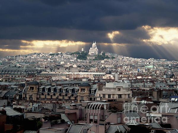 Vue De La Butte Montmartre.roofs Of Paris Print by Bernard Jaubert