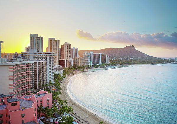 Waikiki Beach At Sunrise Print by Monica and Michael Sweet