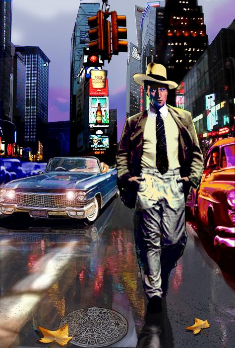 Waine Walking In Times Square Print by Jose Roldan Rendon