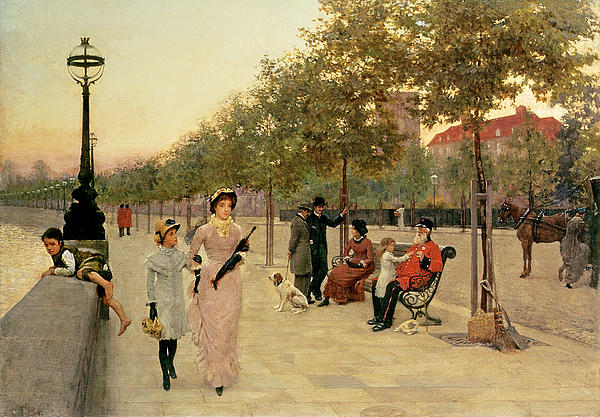 Walk Along The Embankment At Chelsea Print by Frederick Brown