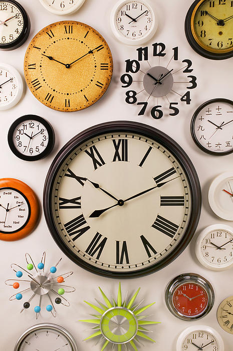 Wall Clocks Print by Garry Gay