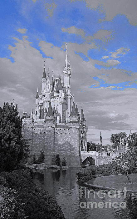 Walt Disney World - Cinderella Castle Print by AK Photography