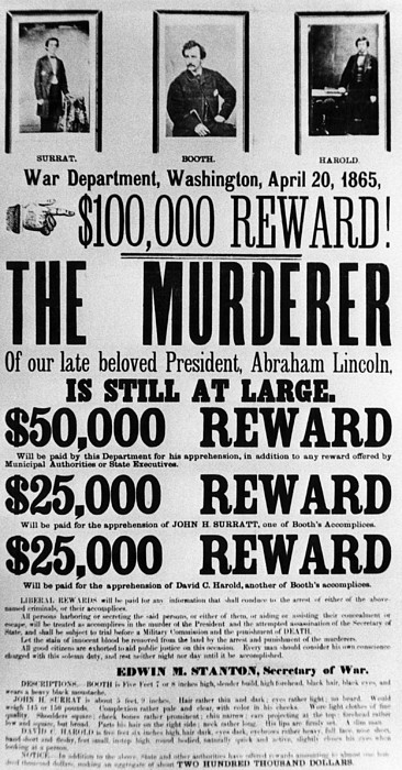 Wanted Poster For John Surratt, John Print by Everett