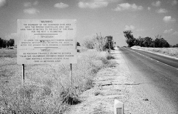 warning road sign warning of the border of the turkish military controlled area of the SBA Sovereign Print by Joe Fox