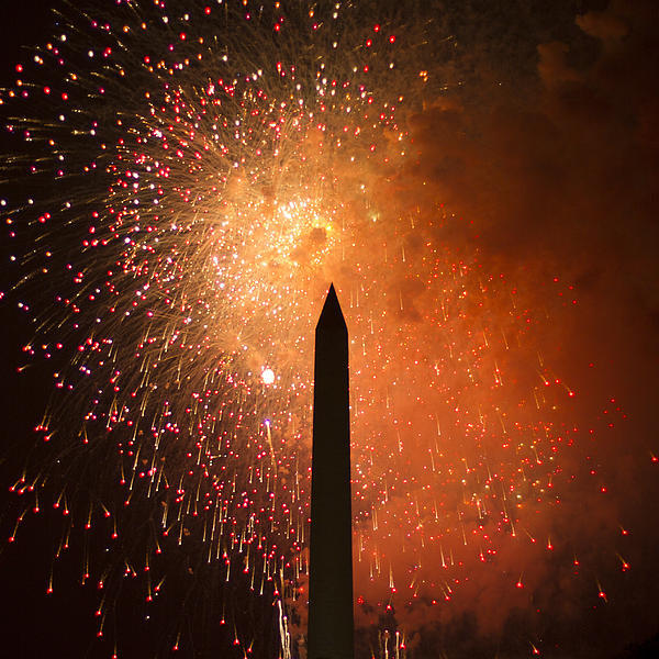 Washington Monument And Fireworks I Print by Phil Bolles