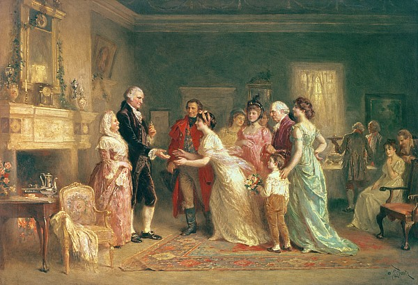 Washingtons Birthday Print by Jean Leon Jerome Ferris