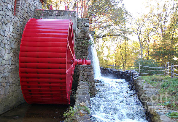 Water Powered Grist Mill Wheel Print by John Small