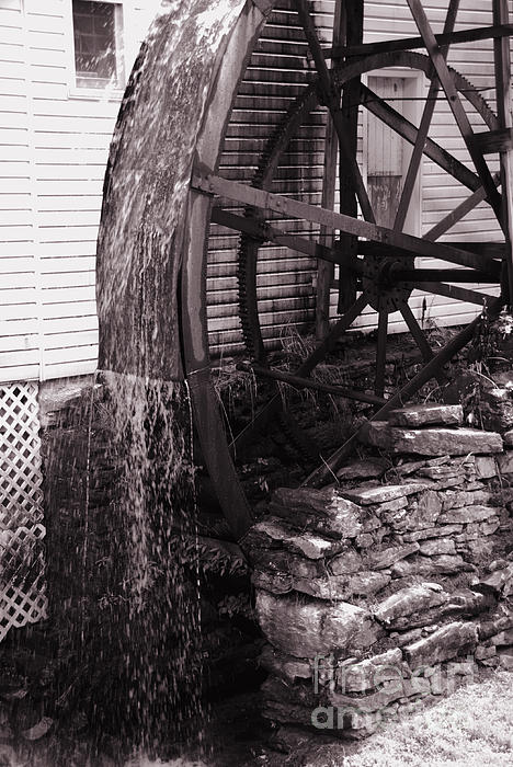Water Wheel Old Mill Cherokee North Carolina  Print by Susanne Van Hulst