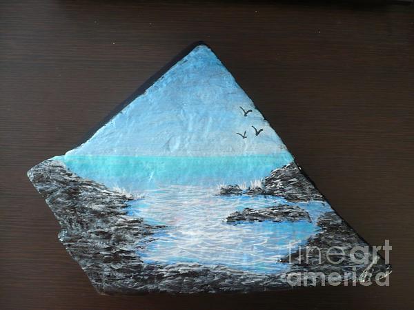 Water With Rocks Print by Monika Dickson-Shepherdson