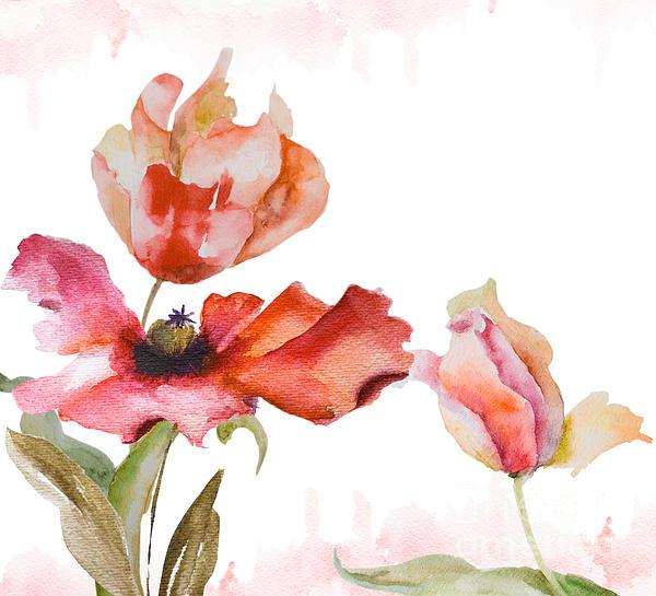 Watercolor Background Print by Regina Jershova