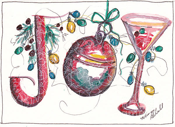 Watercolor Christmas Notecard Print by Michele Hollister - for Nancy Asbell