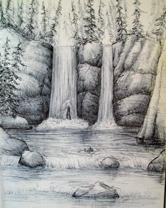 Waterfall Drawing  - Waterfall Fine Art Print