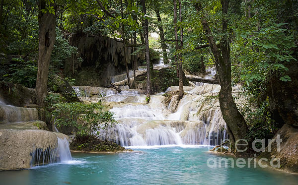 Waterfall In Deep Forest Print by Setsiri Silapasuwanchai