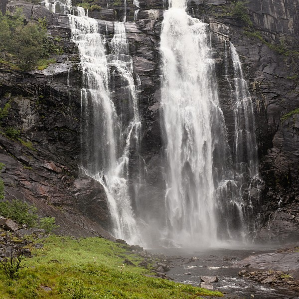 Waterfalls Over A Cliff Norway Print by Keith Levit