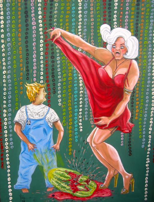 Watermelon Splash Painting - Watermelon Splash Fine Art Print - V Boge