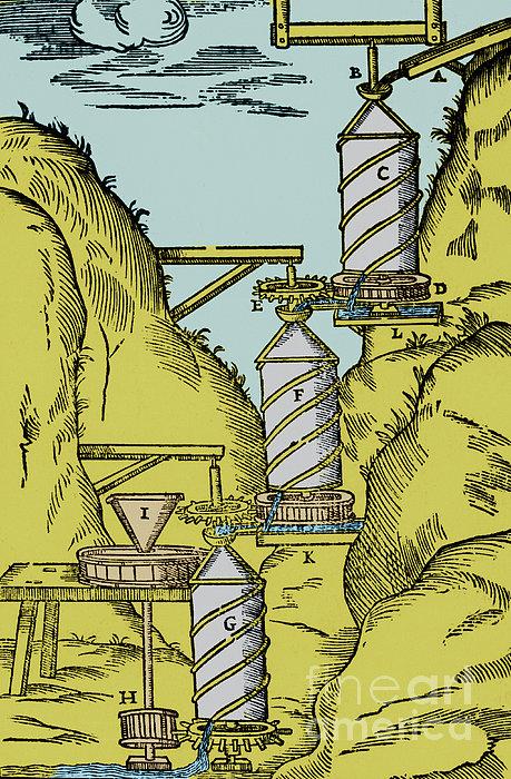 Watermill Reversed Archimedean Screw Print by Science Source