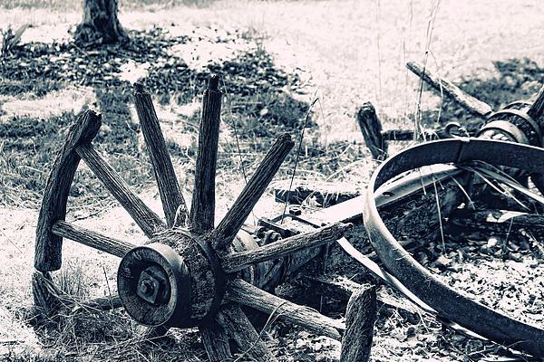Weathered Wagon Wheel Broken Down Print by Tracie Kaska