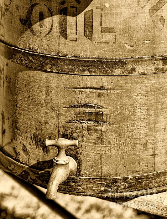 Weathered Wooden Bucket In Sepia Print by Paul Ward