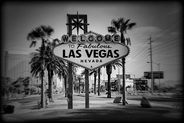 Welcome To Las Vegas Series Holga Black And White Print by Ricky Barnard