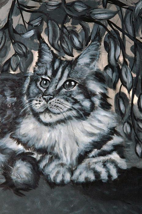 Well Fed Cat Print by Elena Melnikova