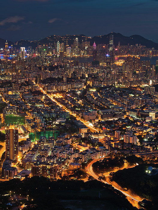 West Hongkong At Night Print by Coolbiere Photograph